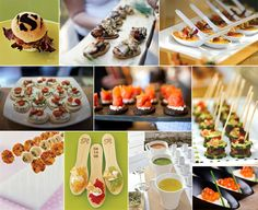 food presentation ideas - liking the one bit spoons and the meatballs on stilts :).