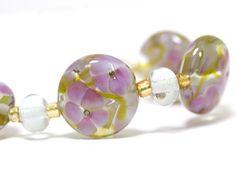 Handmade Lampwork Glass Floral Bead Set Fuschia by susansheehan,
