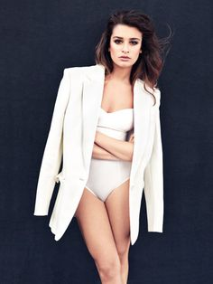 Lea Michele Fashion Photos - Style Pictures of Lea Michele - Marie Claire - in Stella McCartney jacket and Eres swim