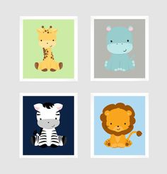 ***** FRAMES ARE NOT INCLUDED****  This listing is for a set of 4 prints that will look beautiful in any nursery, kids room or playroom. ITEM DETAILS: