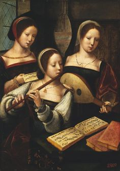 Master of the Female Half-Lengths Concert of Women - The Hermitage, St. Petersburg The Master of the Female Half-Lengths*, active was a Dutch* Northern Renaissance painter* or likely a group of painters of a workshop. Renaissance Kunst, Renaissance Music, Renaissance Paintings, Renaissance Clothing, Motif Music, Maria Magdalena, Hermitage Museum, Albrecht Durer, Medieval Art
