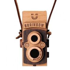 wooden box camera necklace