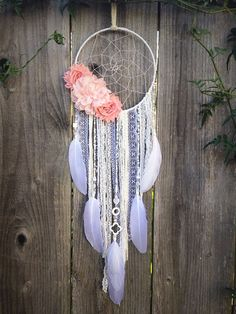 Flower Dreamcatcher White Dream Catcher Boho by InspiredSoulShop