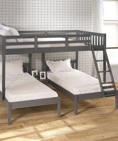 Harriet Bee Ayasha Twin over Twin over Full Triple Bed Bed Frame Color: Dark Gray Loft Bunk Beds, Bunk Beds With Storage, Full Bunk Beds, Kid Beds, Bunk Bed With Trundle, Modern Bunk Beds, Three Bed Bunk Beds, Diy Bunkbeds, Small Room Design