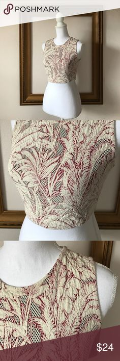 Zara Trafaluc cream patterned fitted crop top, S In great condition. Gently used. Super cute! Ready for summer and tan skin 👍🏻 Zara Tops Crop Tops
