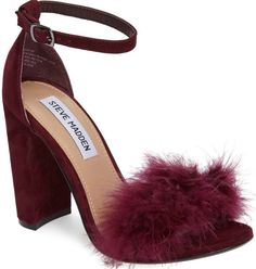 898d5bcfcb0 Fluffy Steve Madden  Carabu  Feathered Ankle-Strap Sandals Block Heel  Shoes