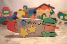Puzzle Rocket. Handmade wooden puzzle game. Handmade colorful kids toy. Wooden ecofriendly toys for babies, children, kids on Etsy, $10.00