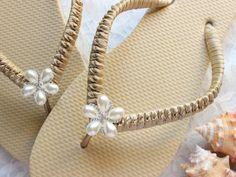 0219e7aaf1d Elegant embellished flip flops Champagne Golden color wedding shoes.  Evening women sandals