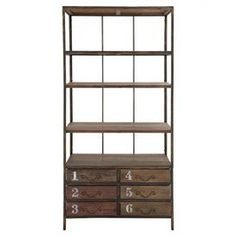 """Industrial-style wood bookcase with four open shelves and six stencil-numbered drawers.   Product: BookcaseConstruction Material: WoodColor: Light brownFeatures:  Six drawersFour open shelves Dimensions: 78"""" H x 36"""" W x 16"""" D"""