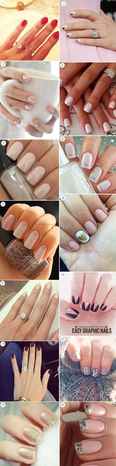 Have a brand new sparkly ring to show off? Complement your ring with one of these 15 fab manicure ideas!