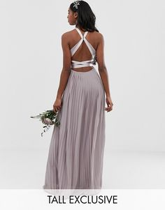 a798375ad66 TFNC Tall pleated maxi bridesmaid dress with cross back and bow detail in  gray