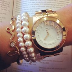 Marc jacobs watch...love it with the pearls and the love bracelet