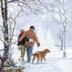 Couple Walking Dog by The Macneil Studio