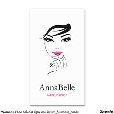 Woman's Face Beauty Salon Cosmetologist Double-Sided Standard Business Cards (Pack Of 100) Great for makeup artists, estheticians, beauticians, salons, eyelash extensions, eye brow specialists, and more.