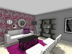 Interior Design Tip: Make one accent wall in creatively patterned wallpaper!  Decor from IKEA USA  Pottery Barn:  http://planner.roomsketcher.com/?ctxt=rs_com  3D floor plan for a living room featuring an accent wall with furniture  decor in whites, grays, magentas and black designed in RoomSketcher business edition  #livingroom #floorplan #walls