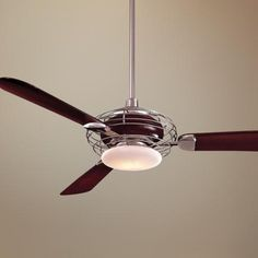 It's so hard to find ceiling fans with lights that don't have Victorian tulip shades. This one is very cool.