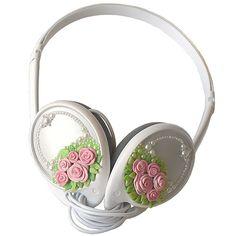 Home made rose deco headphones