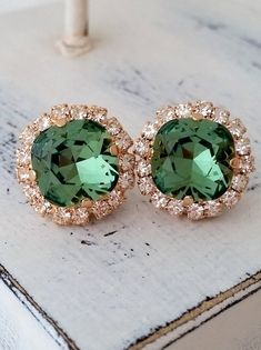 Green crystal stud earrings | Rose gold crystal earrings | kelly green stud earrings by EldorTinaJewelry | http://etsy.me/1Re4osm