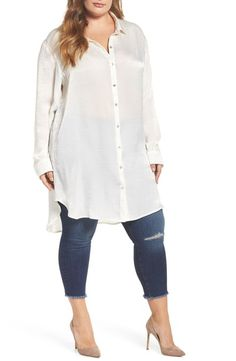Plus Size Satin Tunic Shirt- Tap the link now to see our super collection of accessories made just for you! Plus Size Tips, Look Plus Size, Plus Size Jeans, Curvy Outfits, Cool Outfits, Casual Outfits, Fashion Outfits, Plus Size Fashion For Women, Plus Size Women