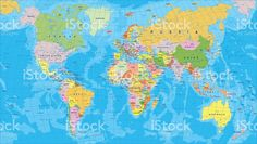 Awesome world map country names high resolution wallpaper download colored world map borders countries and cities illustration royalty free stock vector gumiabroncs Images