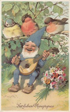 Pfingsten, Zwerg mit Mandoline, Vögel, sign. Fritz Baumgarten in Sammeln & Seltenes, Ansichtskarten, Motive | eBay