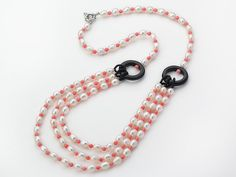 Aypearl.com -- Three Layer White Freshwater Pearl and Pink Coral and Black Agate Donut Necklace