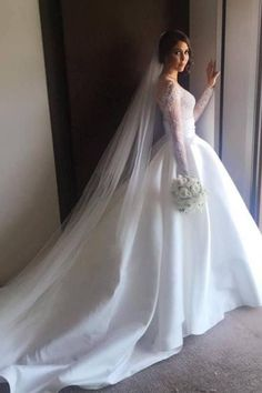 Romantic Lace Satin Skirt with Long Sleeves Illusion Back Wedding Dress Plus Wedding Dresses, Slit Wedding Dress, How To Dress For A Wedding, Western Wedding Dresses, Lace Mermaid Wedding Dress, Elegant Wedding Dress, Bridal Dresses, Romantic Lace, Lace Wedding