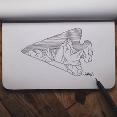 steelbison:  First sketch in my new @Shop Denik book. #art #arrowhead #denik