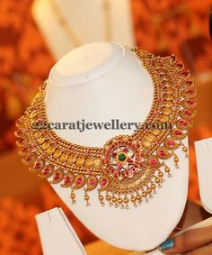 Jewellery Designs: Temple Necklace with Mango Coins