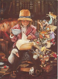 and while at the tea party when I started to read...  I love to and collect antique books of childrens fairy tales, from all around the world and love their different styles of art work and illustrations.  This card is from Dandelion, but the art work is Lori Preusch...amazing work....
