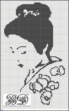 point de croix femme geisha , cross stitch woman geisha japanese 4