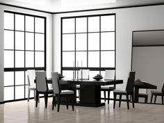 Chic, Black and White Dining Room Ideas for 2019 Project Best Dining, Dining Table In Kitchen, Dining Room Chairs, Dining Room Furniture, Dining Rooms, Luxury Dining Room, Dining Room Design, Black And White Dining Room, Minimalist Dining Room