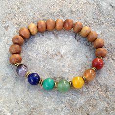Sandalwood and multi color gemstone chakra bracelet