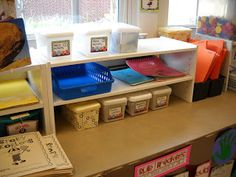 Nice idea--use shoe racks and baby wipe containers to store art supplies, math manipulatives, you name it.
