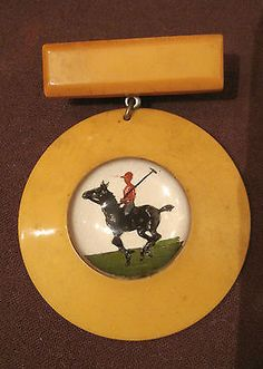 vintage-bakelite-hand-painted-reverse-glass-enamel-horse-polo-award-brooch-pin