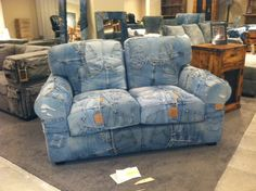 Upcycled blue jean sofa Love all the pockets,  this would make great couch covers, good way to make extra money, make custom couch covers from garage sale jeans....this could be a money maker...Charlotte