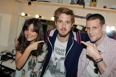 Jenna Louise Coleman, Arthur Darvill and Matt Smith backstage at 'Once'.