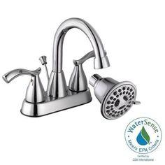 Glacier Bay Edgewood 4 in. 2-Handle High-Arc Bathroom Faucet with Bonus 3-Spray Showerhead in Polished Chrome-67152-6901 - The Home Depot