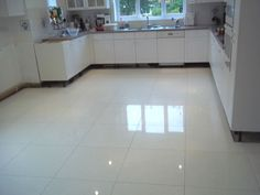 Captivating White Floor Tile Kitchen Gallery - Best inspiration home ...