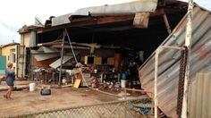 Cyclone Olwyn 13 March 2015 -- Shed damage in Exmouth. 13 March, Shed, Weather, Weather Crafts, Barns, Sheds