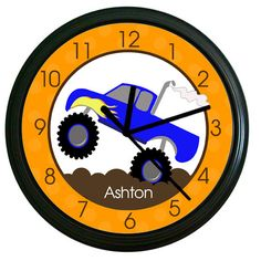 Monster Truck Kids 10inch Wall Clock by AllPetsCherished on Etsy, $22.95