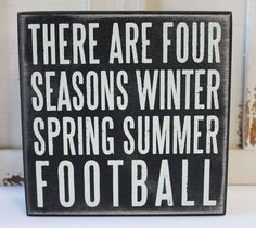 Football Season Wood Block Sign - Man Cave or Game Room Decor - Primitives by Kathy from California Seashell Company