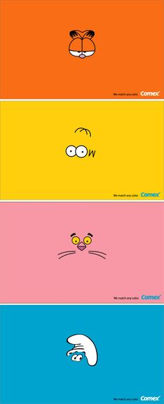 Comex Paint using iconic cartoon characters to identify their colours.