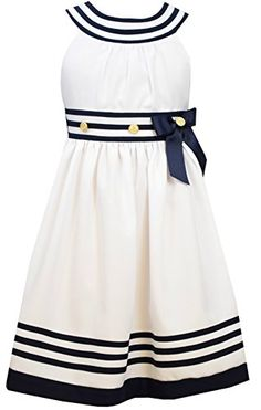 Bonnie Jean Girls Nautical Dress White Uneck 7 *** You can get additional details at the image link.