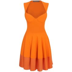 Alexander McQueen Orange Exposed Bustier Mini-Dress ($2,165) ❤ liked on Polyvore