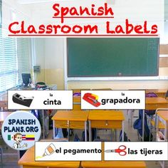 Free Spanish Classroom Object Labels Includes 30 labels in Spanish for common classroom items with picture. Post these labels in your classroom and listen as your students start using the Spanish word to talk about the items. Label your cabinets or