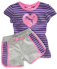 Puma Kids Set, Little Girls T-Shirt and Shorts - Kids Toddler Girls - Macy's Baby Outfits, Toddler Girl Outfits, Toddler Fashion, Kids Outfits, Kids Fashion, Toddler Girls, Kids Girls, T Shirt And Shorts, Kids Shorts
