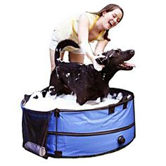 @Overstock - The Pet Store Collapsible portable Pet bath features a collapsible frame that fastens for storage. Made of Waterproof PVC and Nylon construction Reinforced with a strong Metal frame.http://www.overstock.com/Pet-Supplies/Portable-Collapsible-Pet-Bath-Tub-with-Carry-Case/6834450/product.html?CID=214117 $39.99
