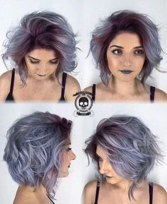 Silver gray ombre hair color ideas for short hair managed to supplant the burning red, cold blue and extravagant purple hair dye. This shade is quite, Hair Color frisuren frauen frisuren männer hair hair styles hair women Grey Ombre Hair, Dyed Hair Purple, Silver Purple Hair, Gorgeous Hair, Hair Looks, Pretty Hairstyles, Hair Inspiration, Short Hair Styles, Hair Makeup