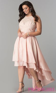 Shop high-low plus-size prom dresses at PromGirl. Scoop-neck sleeveless lace bodice dresses in plus sizes with sequins and satin high-low skirts. Plus Size Wedding Guest Dresses, Plus Size Formal Dresses, Short Dresses, Plus Size Cocktail Dresses, Summer Dresses, Women's Fashion Dresses, Dress Outfits, Full Figure Dress, Special Occasion Dresses